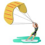 Impulsión de la mujer en practicar surf de la cometa Windsurf de la muchacha en la superficie w del agua ilustración del vector