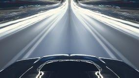 Impulsión de la noche de la velocidad del coche Imágenes de archivo libres de regalías