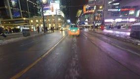 impulsión de Point of View de la noche de 4K UltraHD (POV) en Toronto, Canadá almacen de video