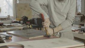 Impulsión profesional del carpintero en pasador en el tablero de madera muebles ensamblaje almacen de video