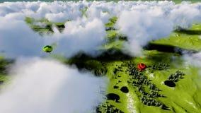 Impulsi dell'aria sotto la foresta e le montagne stock footage