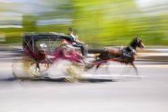 Impulsiones del caballo y de carro en del tráfico el Central Park abajo del oeste en Manhattan, New York City, NY Foto de archivo