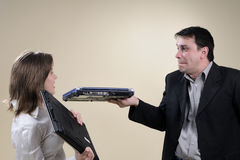 Business Woman Slapping Man In Office Stock Photo Image