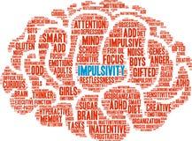 Impulsivity-Wort-Wolke Stockfotos