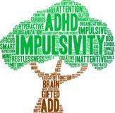 Impulsivity-Wort-Wolke Stockfoto