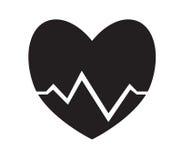 Impulso in bianco e nero del cuore, fondo di bianco di vettore dell'icona di battito cardiaco Fotografia Stock Libera da Diritti