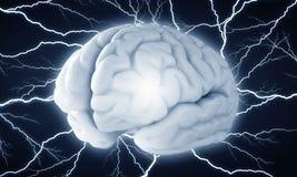 Impulso do cérebro humano Meios mistos fotografia de stock