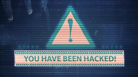 Impulso errato dell'elemento del pirata informatico e di rumore del pixel con l'iscrizione siete stato inciso video d archivio