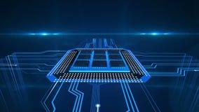 Impulsos eléctricos que corren a la placa de circuito del ordenador, procesión de los datos, electrones ilustración del vector