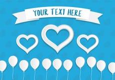Impulsos y corazones del estilo del Libro Blanco con un lugar para el texto Modelo de la tarjeta de felicitación Fotografía de archivo libre de regalías