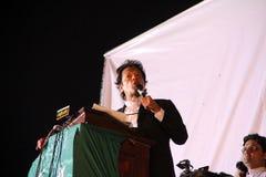 imran khan拉合尔演讲 库存照片