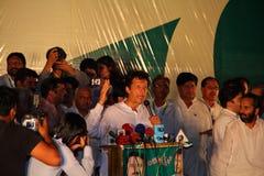 Imran Khan en la reunión política Imagenes de archivo