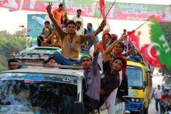 imran khan pti支持者年轻人 免版税图库摄影