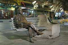 Imre Kalman statue in night, Budapest, Hungary Royalty Free Stock Images