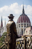 Imre Nagy statue in Budapest, Hungary stock photography
