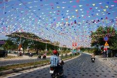 Imrpression con la decoración para celebrar el día de fiesta de Vietnam Fotografía de archivo