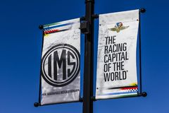 Indianapolis - Circa October 2017: IMS Banners in Speedway, Home of the Indianapolis Motor Speedway. IMS Hosts the Indy 500 III Royalty Free Stock Photography