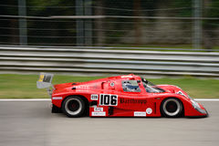 IMSA Lights Championship Tiga race car. Monza circuit was the theatre of the Monza-Historic event by Peter Auto. The Howden Ganley`s Tiga GC288 was built to royalty free stock photos