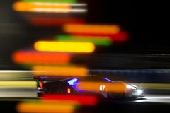 IMSA:  March 17 Mobil 1 12 Hours of Sebring. March 17, 2018 - Sebring, Florida, USA:  The Chip Ganassi Racing Ford GT races through the turns at the Mobil 1 12 Royalty Free Stock Image