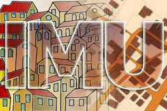 IMU which means Unique Municipal Tax the most unpopular italian tax on land and buildings - concept image against a cadastral. Map of territory royalty free stock photos