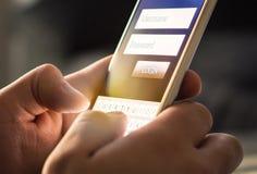 Início de uma sessão com o smartphone à conta bancária em linha fotos de stock royalty free