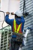 Inżynier, Highrise fasada, Kablowa inżynieria, ochrona, zdjęcie royalty free