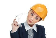 Inżynier kobieta nad białym tłem Zdjęcie Stock