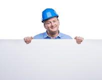 Inżynier w błękitnym hełmie Zdjęcia Stock