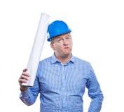 Inżynier w błękitnym hełmie Obrazy Stock