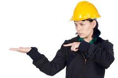 inżynier wskazujące na ręce Zdjęcia Royalty Free