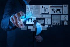 Inżyniera biznesmen pracuje na nowożytnej technologii Obrazy Stock