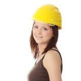 inżyniera hełma kobiety kolor żółty fotografia stock