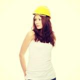 inżyniera hełma kobiety kolor żółty obraz royalty free
