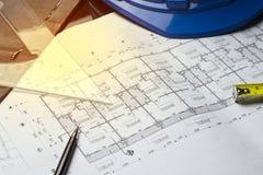 Inżynieria diagrama projekta papieru brulionowości projekta nakreślenia łuk Zdjęcie Stock