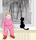 In The Street It Is Very Cold, Children Sit At Home Royalty Free Stock Images