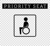Inabilidades ou aleijado no sinal da cadeira de rodas Assento para clientes, ícone especial da prioridade do lugar isolado no fun Fotos de Stock Royalty Free