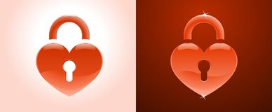 Inaccessible Heart. Heart Shape as a Lock, pictured on white and on dark red backgrounds stock illustration