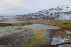 Inactive geyser in the geothermal area in Iceland Stock Images