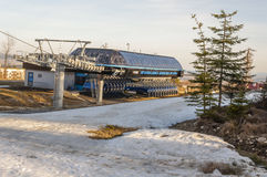 Inactive lower station of chairlift. Stock Image