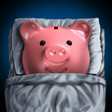 Inactive Savings Account. Inactive savings banking account symbol as a piggy bank resting in bed as a dormant unclaimed financial investment metaphor with 3D Stock Photo