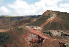 Inactive vulcano on Galapagos island stock photo