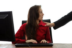 Inappropriate touch. Woman being inappropriate touched at work royalty free stock photography