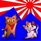 Inari en Maneki Neko Stock Fotografie