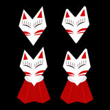 Inari Fox Kitsune White Face with Red Mark Royalty Free Stock Photography