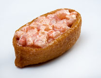 Inari sushi with salmon and roe tobiko Stock Photos