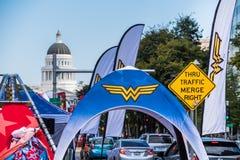The Inaugural DC Wonder Woman Run Series, Sacramento. September 22, 2018 Sacramento / CA / USA - Tents and banners at the Inaugural DC Wonder Woman Run Series 5K royalty free stock images