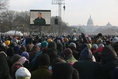 Inauguratie 2009: Binnen de menigte op de wandelgalerij royalty-vrije stock fotografie