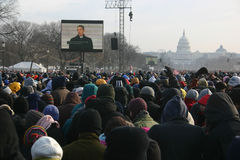 Inauguration 2009: Within the crowd on the mall. Washington, DC - January 20: Barack Obama is broadcast on the large screens in front of the Capitol Building as royalty free stock photography