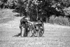Inbördeskriget som är beträffande-enactement i Duncans, maler, CA, USA Royaltyfri Fotografi
