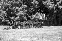 Inbördeskriget som är beträffande-enactement i Duncans, maler, CA, USA Arkivbild